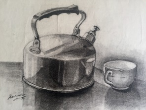 Whistling Kettle, 1975, charcoal on paper, 9x12 inches