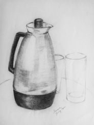 Thermos, 1975, charcoal on paper, 12x9 inches
