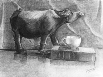 Carabao Carving, 1975, charcoal on paper, 9x12 inches