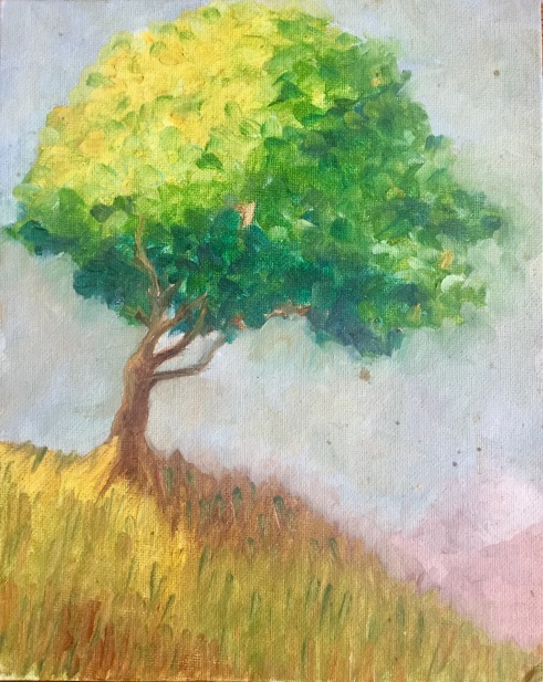 Tree on a Hill, 2009, oil on canvas panel, 10x8 inches