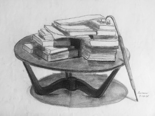 Raining Books, 1975, charcoal on paper, 9x12 inches