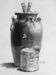 Urn and Enfamil, 1975, charcoal on paper, 12x9 inches
