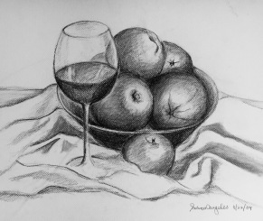 Fruit and Wine, 2009, charcoal on canvas panel, 16x20 inches