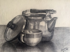 Tea Kettle, 1975, charcoal on paper, 9x12 inches