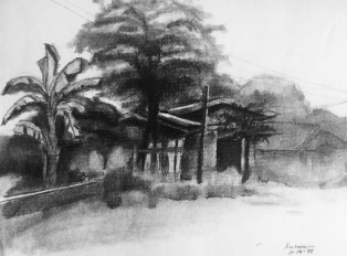 UP Diliman 1, 1975, charcoal on paper, 9x12 inches
