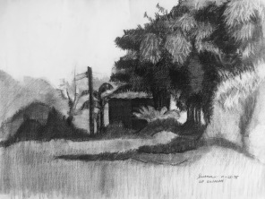 UP Diliman 2, 1975, charcoal on paper, 9x12 inches