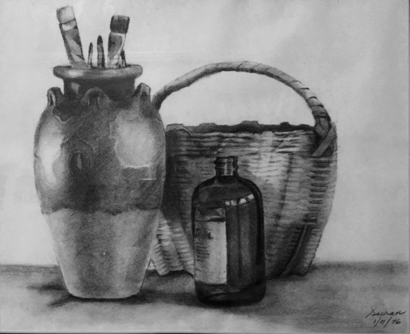 Still Life with Basket, 1976, charcoal on paper, 11x13 inches